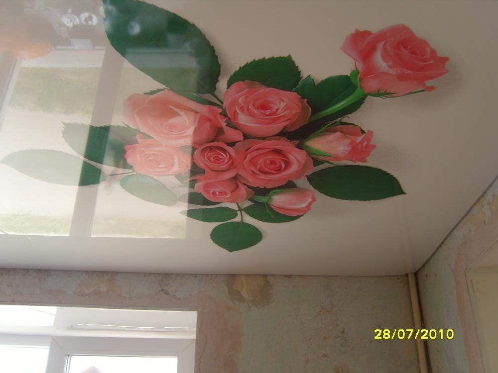 Фото натяжных потолковпечать цветы
